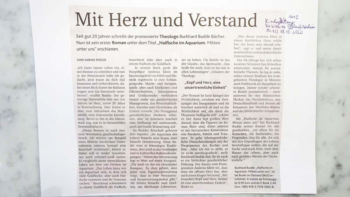 """Zeitungsrezension des Buches """"Haifische im Aquarium"""" von Burkhard Budde"""